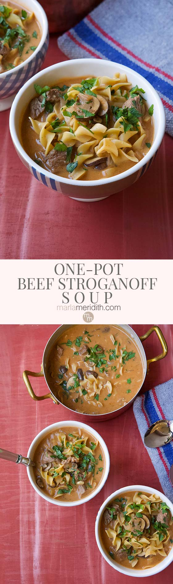 This healthy and delicious One-Pot Beef Stroganoff Soup recipe is everything you need for a warming family meal that comes together in just 30 minutes   MarlaMeridith.com