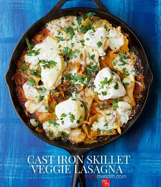Enjoy this rustic and delicious Simple One-Pot Cast Iron Skillet Veggie Lasagna recipe as soon as you can. A hearty, healthy dinner option for busy families looking for weeknight meal solutions. MarlaMeridith.com