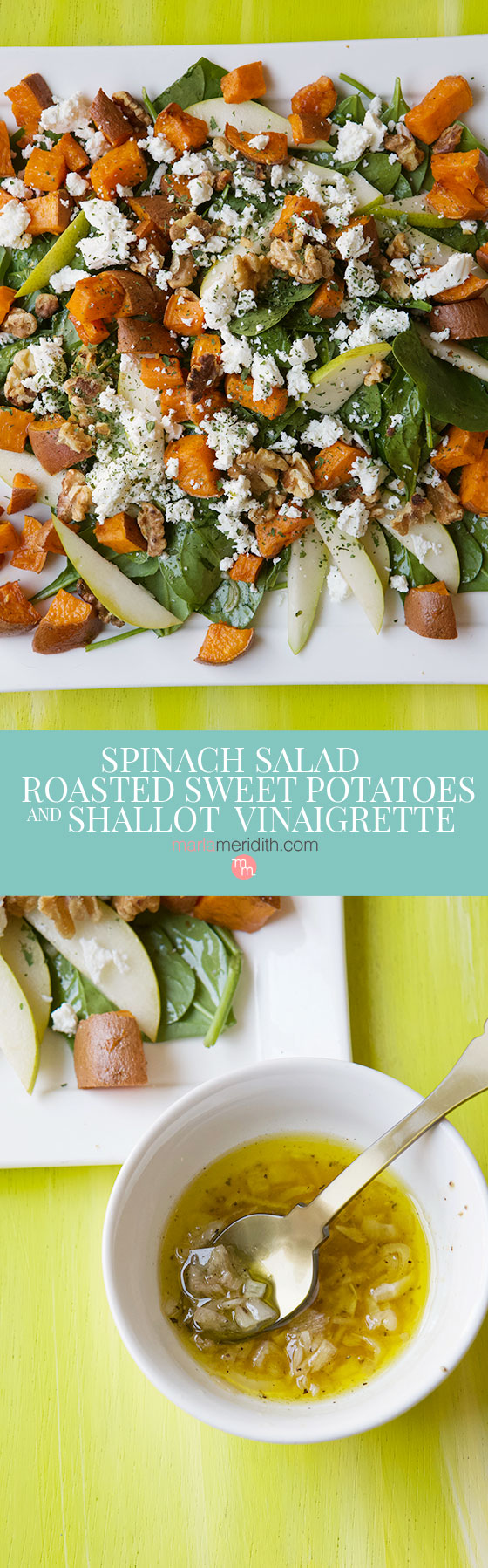 We love this healthy and delicious Spinach Salad with Roasted Sweet Potatoes and Shallot Vinaigrette recipe, a gluten free, vegetarian dish great for the holidays! MarlaMeridith.com