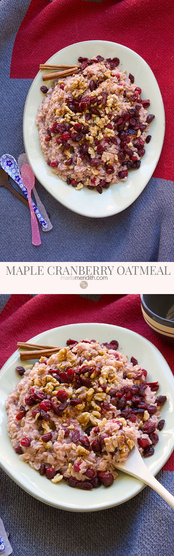 Looking for a new way to prepare oatmeal? Try this healthy, delicious, vegan Maple Cranberry Oatmeal recipe. It's a comforting meal on chilly fall and winter days. MarlaMeridith.com