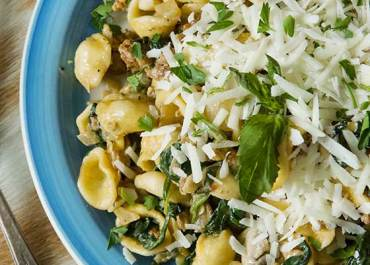 Orecchiette with Sausage, Mushrooms & Spinach