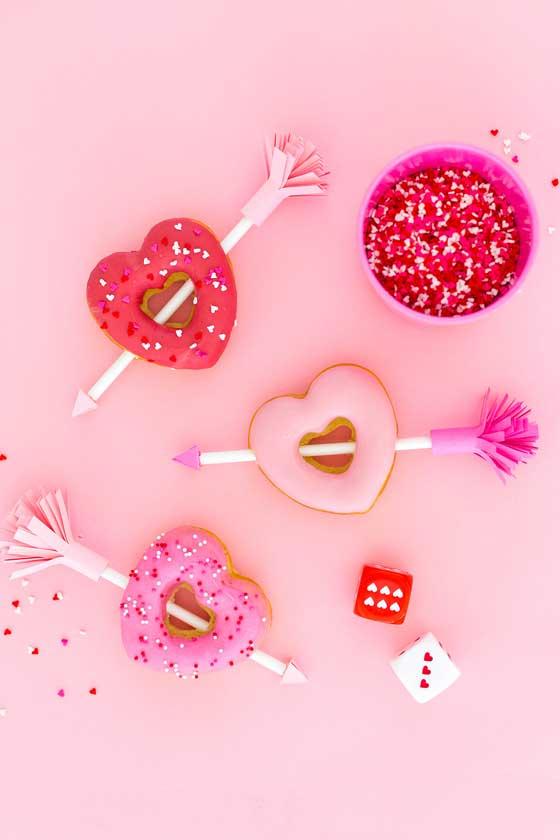 Easy Valentine's Heart Arrow Donuts via Aww Sam