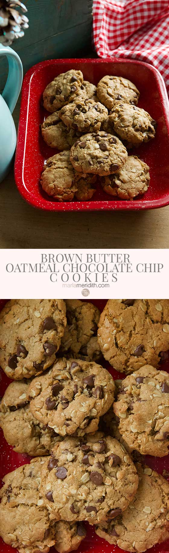 This recipe for Brown Butter Oatmeal Chocolate Chip Cookies will quickly become your favorite. They come together super quickly and will be devoured in minutes! MarlaMeridith.com