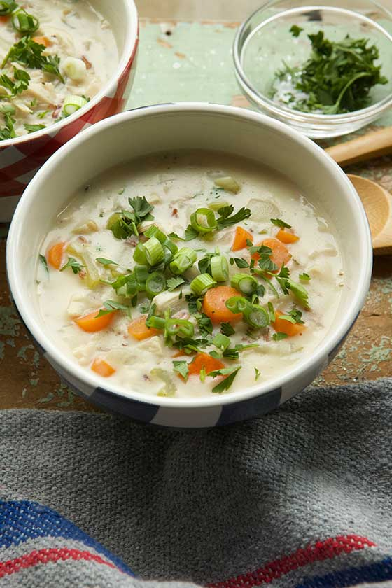 Hearty Creamy Rotisserie Chicken and Wild Rice Soup recipe. MarlaMeridith.com