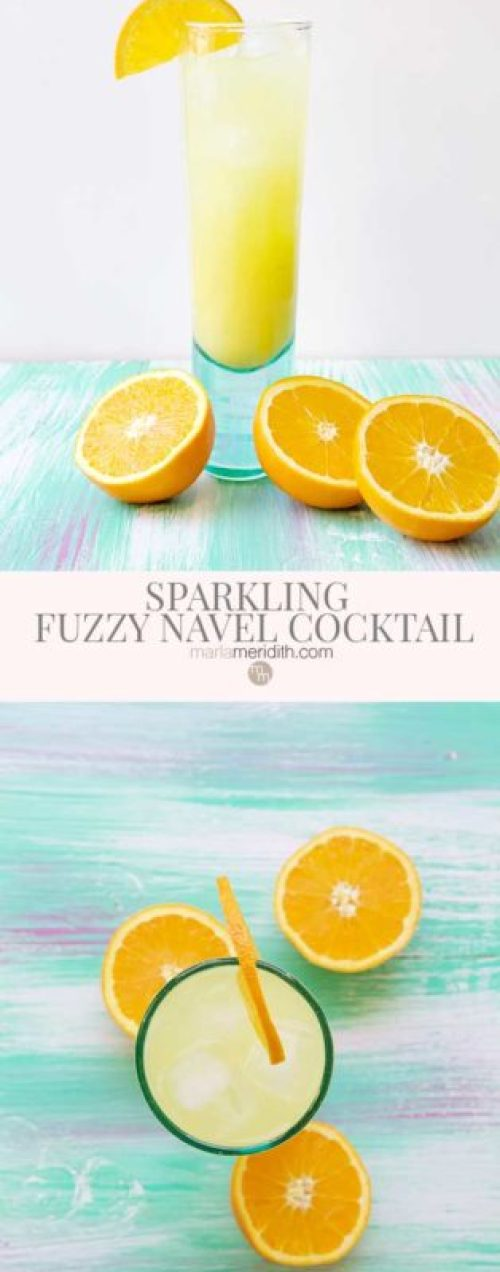Only 3 ingredients make this SPARKLING FUZZY NAVEL COCKTAIL a total WIN! Get the recipe on MarlaMeridith.com