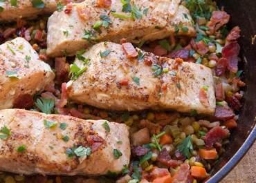 Skillet Salmon with Bacon & Lentils