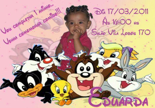 Convite Baby Looney Tunes Lane Ateli Arte Em Biscuit E