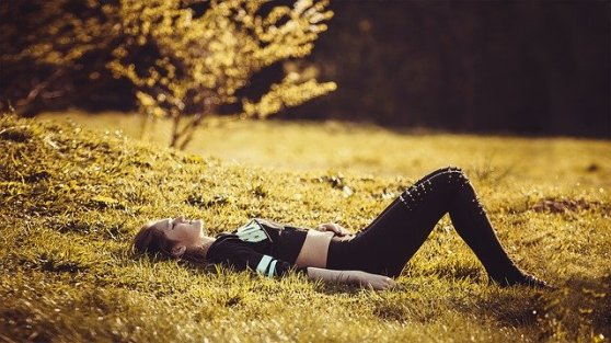 Girl Lying On The Grass Girl Legs