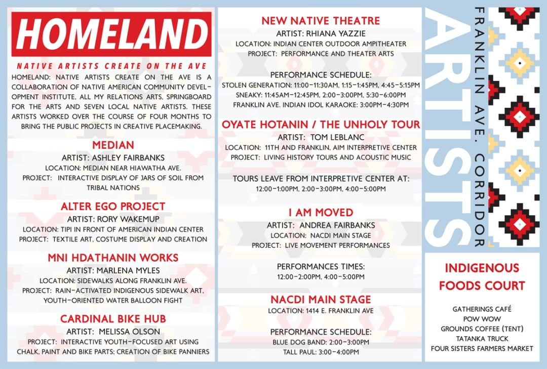 These map cards were created for the Homeland: Native Artists Create on the Ave event that happened August, 2016. The project gathered a group of artists to create public, interactive work along the American Indian Cultural Corridor on Minneapolis' Franklin Avenue.