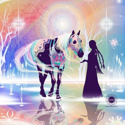 A vector illustration of Haŋwákhaŋ Thašúŋke, Northern Lights Horse, for the Horse Nation Exhibition