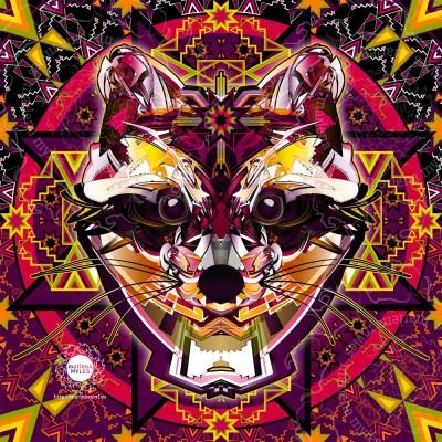 Vector illustration of a Native American Wičhá Naǧí | Dakota Raccoon Spirit
