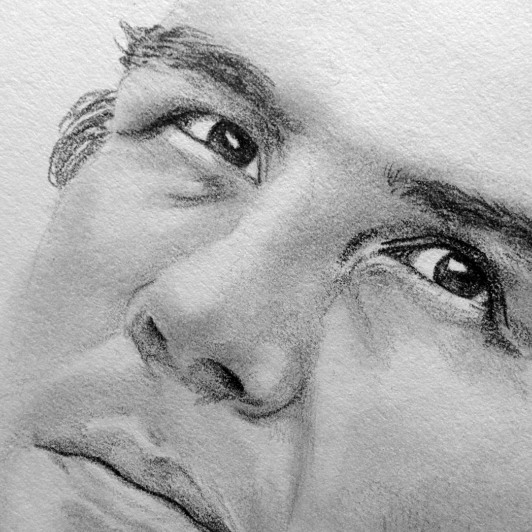 Work in progress drawing of Sam Bradford