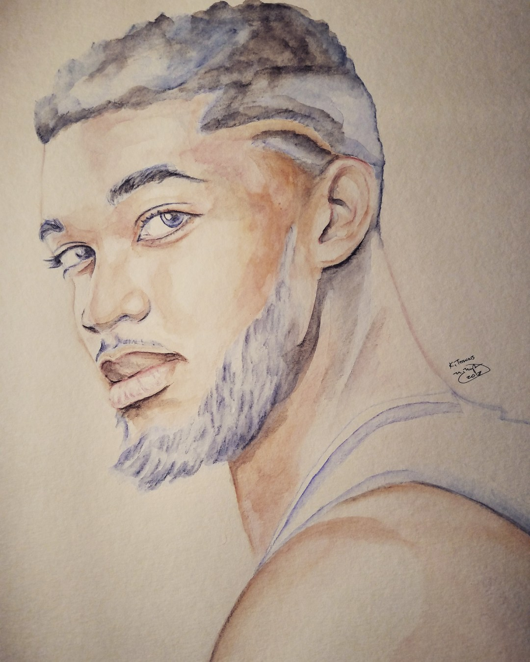 Karl Towns Watercolor painting