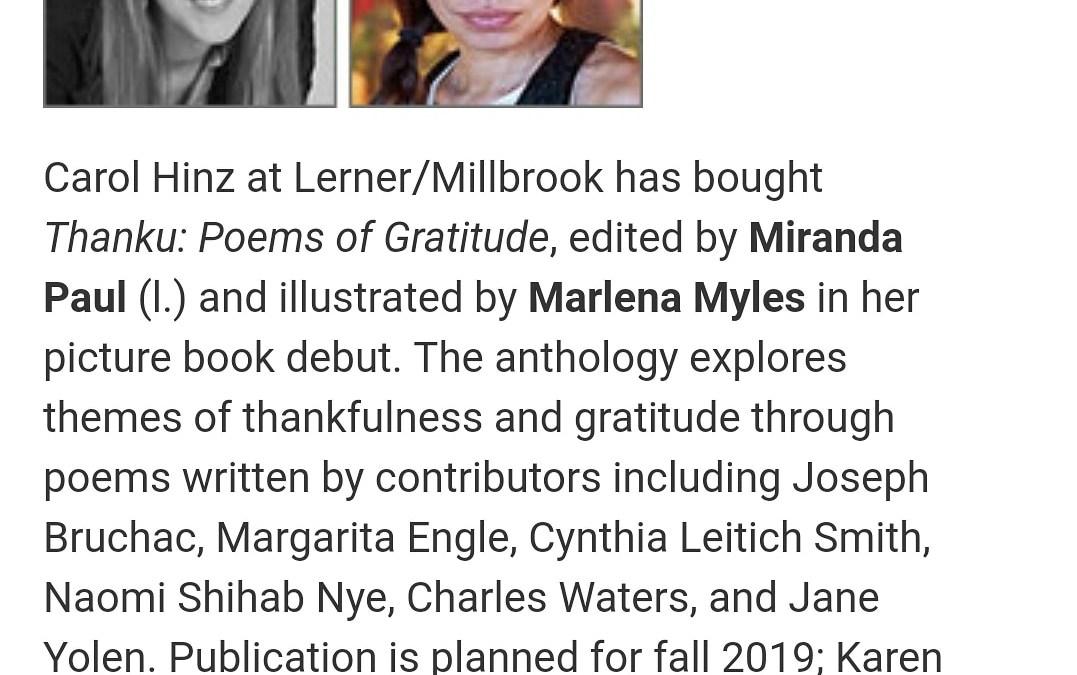 Illustrator debut for Thanku: Poems of Gratitude