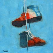 Patriotic Shoes, oil, 8 x 8 inches