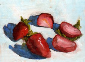 Strawberries in a Circle, oil, 6 x 8 inches
