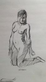Nude kneeling