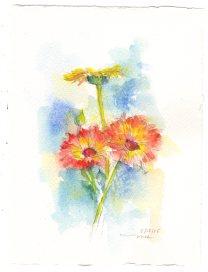 Two Orange Flowers watercolor 6x4