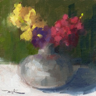 Snapdragons with Pansy, oil, 6 x 6 x 1.5 inches