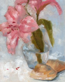 Azalea with Shells, oil, 10 x 8 inches