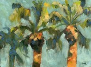Woodland Library Palm Tree, 2014, oil on canvas panel, 6 x 8 inches