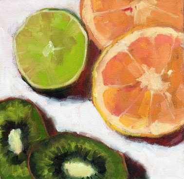 Orange, Lime and Avocados, 8 x 8 x 3/4 inches, oil on stretched canvas