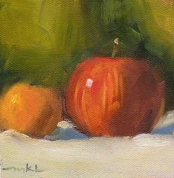 Apple and Tangerine, 4 1/2 x 4 1/2 oil on paper