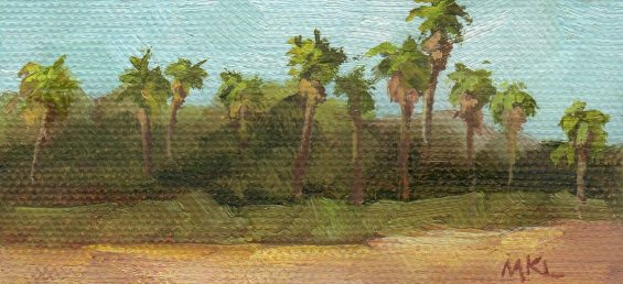 PalmTrees 2016, oil on canvas, 2x4x3/8 inches