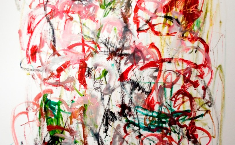 """hold true 48"""" x 36"""" $2600 oil on canvas by Marlene Lowden from the No Words Necessary series"""