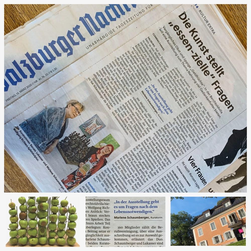 Essen-ziell, Marlene Schaumberger, art bv Berchtoldvilla , Renate Lukasser, Kuratorinnen, Salzburger Nachrichten