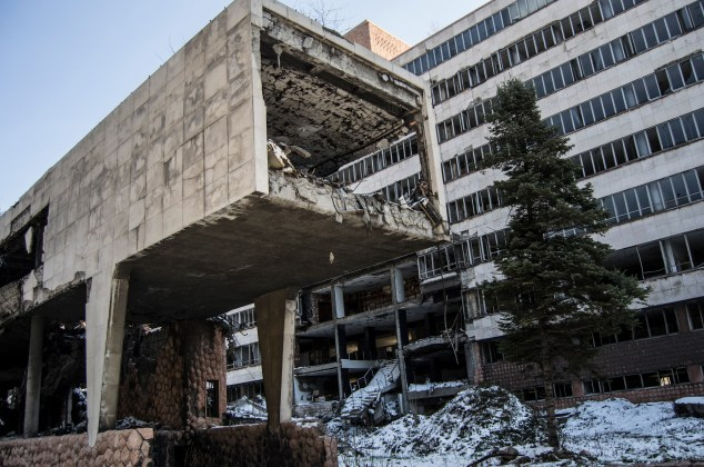 Edifícios bombardeados em 1999 pela NATO.