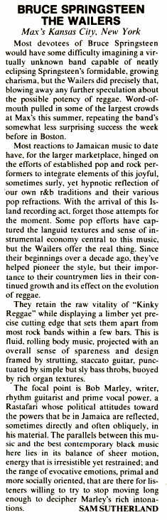 Review of the Max's Kansas City show from Variety, July 18, 1973