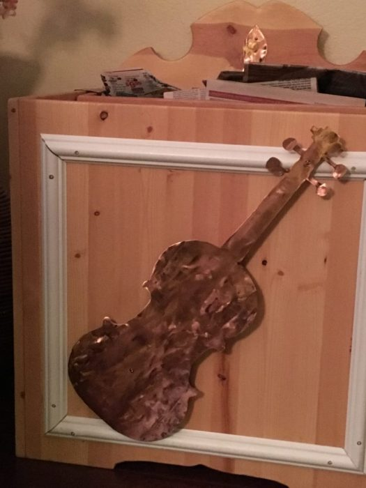 wood box with copper fiddle