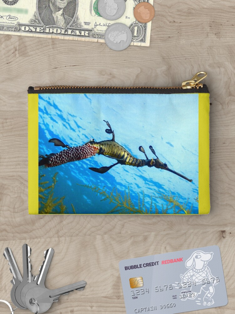 Cosmetics Money Zipper Pouch Purse Weedy Seadragon Print