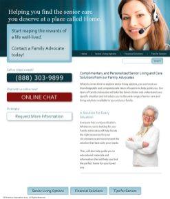 screenshot senior care website