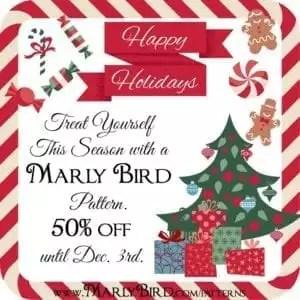 HappyHolidaysPost_50_off at marlybird.com/patterns until Dec 3 2014
