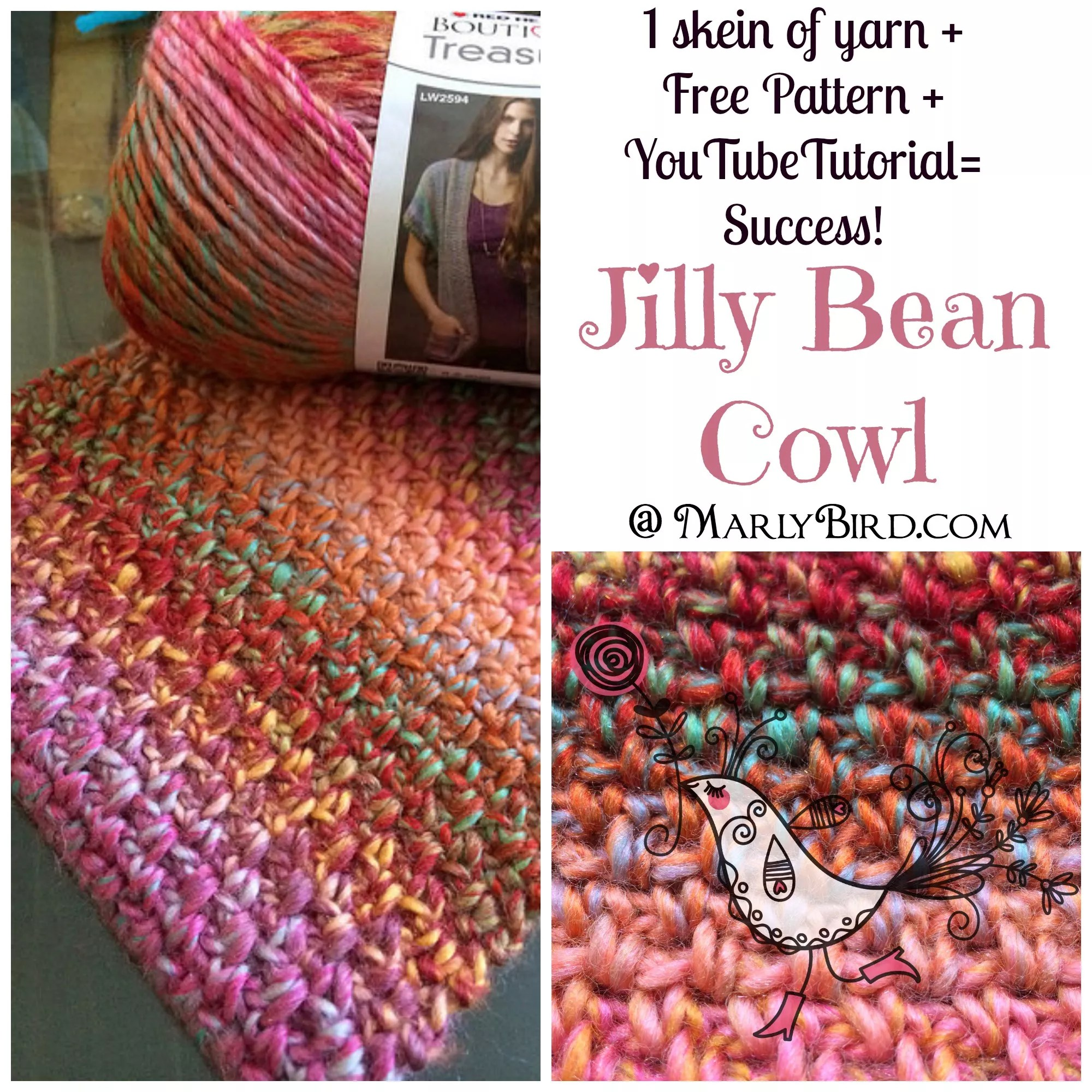 Jilly Bean Cowl Pattern by Marly Bird. Available at www.MarlyBird.com