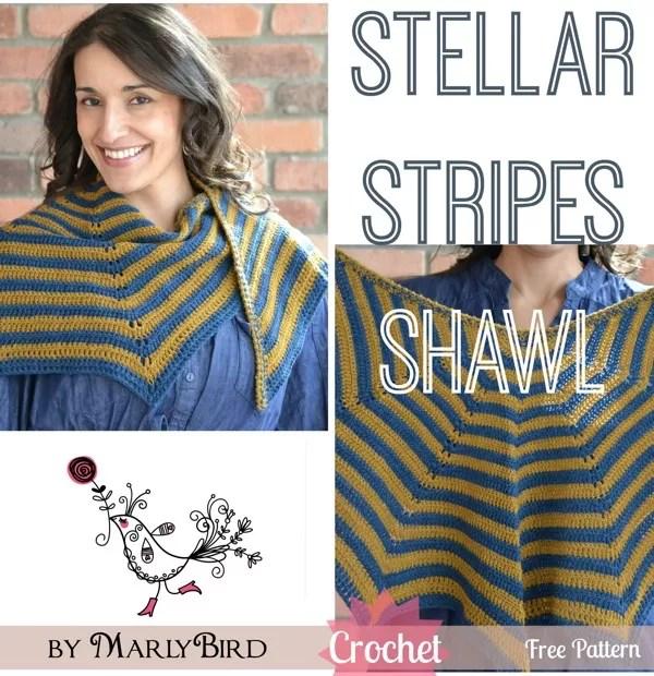 Stellar Stripes Crochet Shawl Free Pattern by Marly Bird