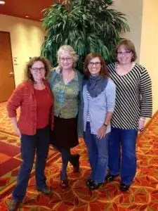 From 2014 event at Loopy Ewe, (L to R) Stephanie Pearl-McPhee, Ann Budd, Susan and Marly.