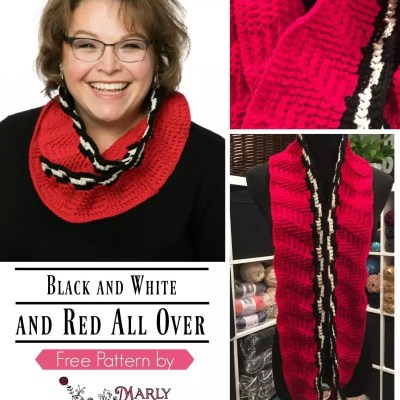Free Crochet Cowl Pattern-Black and White and Red All Over Cowl