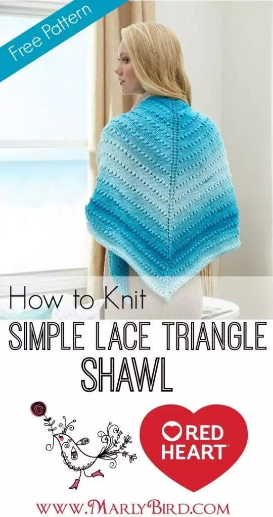 How to Knit Simple Lace Triangle Shawl - Marly Bird™