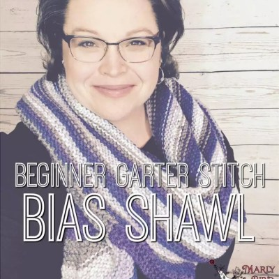 Beginner Garter Stitch Bias Shawl by Marly Bird