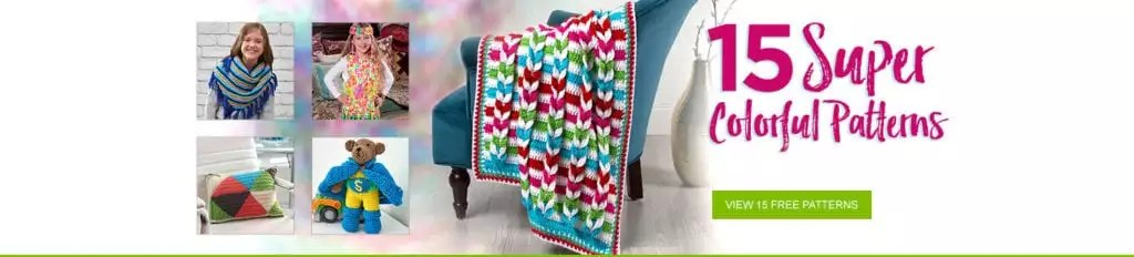 Colorful Super Saver FREE patterns from Red Heart