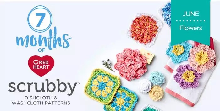 Knit And Crochet Flowers In Red Heart Scrubby Yarns Marly Bird™ Inspiration Scrubby Yarn Knit Patterns