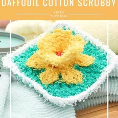 Daffodil Washcloth in Cotton Scrubby-Video Tutorial