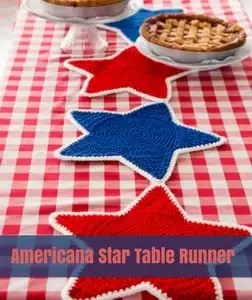 American Start Table Runner Free Patriotic Crochet Pattern from Red Heart