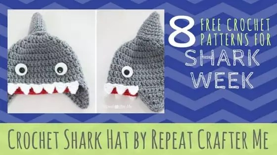 Crochet Shark Hat by Repeat Crafter Me