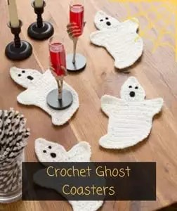 Crochet Ghost Coasters Free Pattern