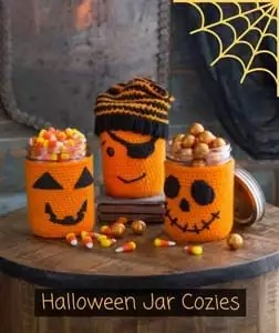 Halloween Jar Cozies Free Red Heart Pattern