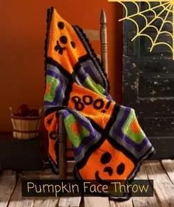 Red Heart Free Pattern Pumpkin Face Throw